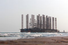 Oil field at the Caspian Sea Royalty Free Stock Image