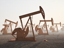 Oil field. An oil field with jack oil wells Royalty Free Stock Photography
