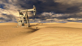 Oil field at  sand Royalty Free Stock Images