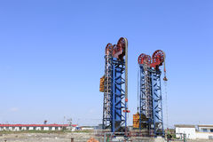Oil field scene Royalty Free Stock Images