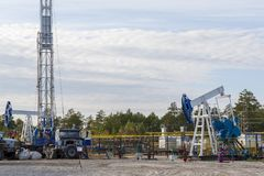 Oil field in Siberia. royalty free stock photos
