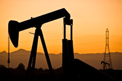 Oil Field Sunset Stock Image