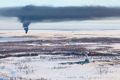 Oil field in tundra, view from above Stock Photo