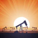 Oil Field. Vector illustration of an oil field with oil rigs on the evening Stock Image