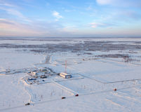 Oil field in West Siberia, top view Stock Photo