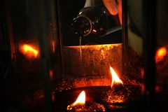 Oil fill in a lamp for lighting and for use in incense. Royalty Free Stock Images