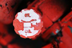 Oil filler cap. On an industrial engine / Tractor stock images