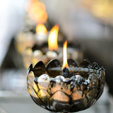 Oil filling  candle in Thai temple Royalty Free Stock Photo