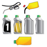 Oil filling gun and oil can ready to receive your logo or be used Royalty Free Stock Images