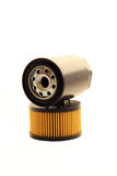 Oil filter. Two automotive oil filters on white background Stock Photography
