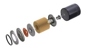 Oil filter assembly animation with exploded view. On white background - 3D animation seamlessly loopable