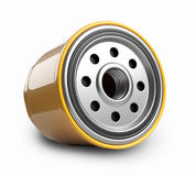 Oil filter car in a orange steel case. Automobile spare part. 3d illustration isolate on white background Royalty Free Stock Photos