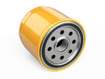 Oil filter car in a orange steel case. Automobile spare part. 3d illustration isolate on white background Stock Images