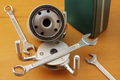 Oil filter wrench royalty free stock photos