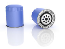 Oil Filters. Blue Oil Filters and reflections isolated on white background Stock Image