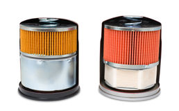 Oil filters, clipping path Royalty Free Stock Photo
