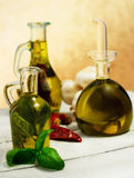 Oil flavored with herbs abd spices Royalty Free Stock Photo