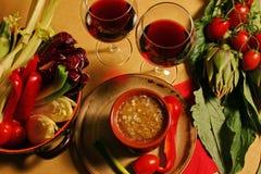 Oil food, bagnacauda. Oil extra vergine of olive .Mediterranean diet, Italy Royalty Free Stock Photos