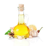 Oil and food ingredients on white. Oil and food ingredients, spice isolated on white background Royalty Free Stock Photography