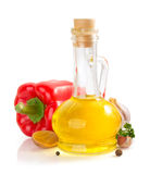 Oil and food ingredients on white Stock Photo