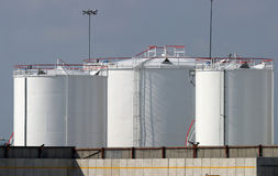Oil Fuel Industrial Storage Tanks Stock Images