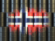 Oil fuel of Norway energy concept. Norwegian flag painted on oil Royalty Free Stock Photos