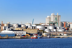 Oil fuel tanks in the port. Of Stockholm stock photo