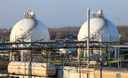 Oil and gad storage tank in refinery Stock Images