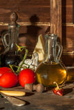 Oil, garlic, tomatoes and cheese Stock Image