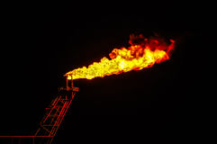 Oil and gas burning. In offshore Royalty Free Stock Photography