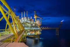 Oil and Gas central processing platform in the gulf of Thailand produced natural gas and liquid condensate for set to onshore. Oil and Gas central processing Stock Photo