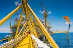 Offshore Oil and Gas central processing platform in the gulf of Thailand produced natural gas and liquid condensate. Oil and Gas central processing platform in royalty free stock image
