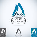 OIl gas company vector logo design template color set. fire oil drop with mountains abstract symbol concept icon. Stock Photos