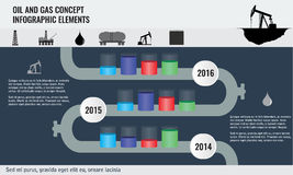 Oil and gas concept infographic design elements with pipeline road Royalty Free Stock Photos