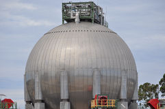 Oil gas container in refinery. Gas container vessel in oil gas refinery Royalty Free Stock Photos