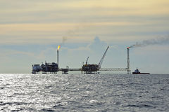 Oil and gas drilling platform. In a gulf of Thailand stock photography