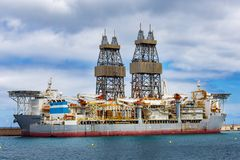 Oil and gas drilling ship. In port on Tenerife royalty free stock photos