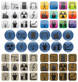 Oil, gas and electric power industry. Icons. Royalty Free Stock Photography