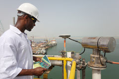 Oil & Gas Electrical Engineer. Conducts site inspection stock image