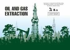 Oil and gas extraction vector illustration