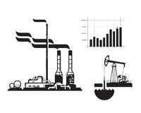 Oil and gas. Factory icons Stock Image
