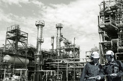 Oil, gas, fuel and refinery workers Royalty Free Stock Images