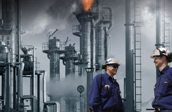 Oil, gas, fuel and refinery workers Royalty Free Stock Photos