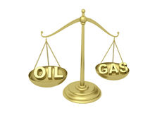 Oil or Gas on the Golden scales Stock Image