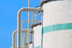 Oil and gas industrial tanks. Royalty Free Stock Images
