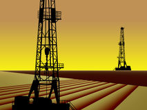 AMERICAN OIL GAS INDUSTRY. Stylized oilfield at sunrise with two drilling rigs. oilfield oil gas industry industrial drill driller drilling rig pump pumpjack royalty free illustration