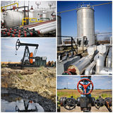Oil gas industry collage. Oil gas industry with blue sky collage Royalty Free Stock Photos