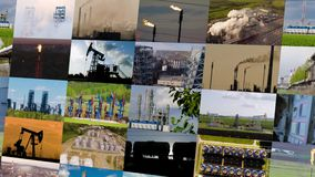 Oil and gas industry collage. 4K