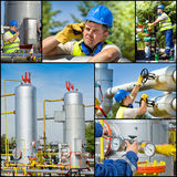 Oil and gas industry. Collage of oil and gas industry worker on plant Royalty Free Stock Images