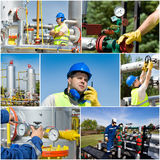 Oil and gas industry. Collage of oil and gas industry worker on plant Stock Image